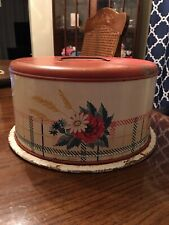 Vintage Cake Pie Tin Metal Carrier Saver Server Red Flowers Butterfly Plaid Farm