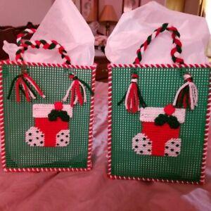 Lot of 4 Christmas Stocking Gift Bag