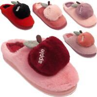 Womens Ladies Soft Warm Faux Fur Lined Apple Fruit Slip On Winter Slippers Mules
