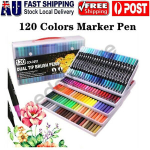 120Pcs Brush Markers Pen Art Set Drawing Painting Watercolour Artist Sketch Gift