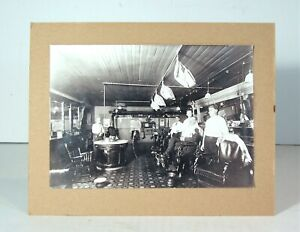 ORIGINAL ca1905 FANCY BARBERSHOP INTERIOR CARD MOUNT PHOTOGRAPH BARBER CHAIRS