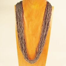 """25"""" Multi Strand Antique Silver Color Handmade Seed Bead Statement Necklace"""