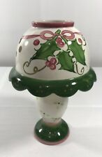 Holiday Holly Ceramic Tea Light Candle Holder Lamp Shade Green Pink Christmas