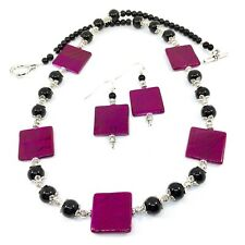 NECKLACE EARRING SET Pink Black Glass Beads Gift Classic Everyday Wear Handmade