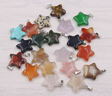 Wholesale Lot 12pcs MIX Natural Stone pentagram Gemstone Necklace Pendant