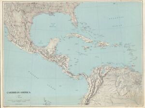 """18"""" x 24"""" 1961 Map Of The Carribean America"""