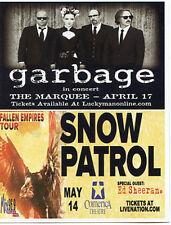 Garbage Snow Patrol promo Card 2012 4 x 6 inch Jason Mraz Christina Perri