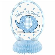UMBRELLA ELEPHANT BOY HONEYCOMB DECORATIONS (4) ~ Baby Shower Party Supplies