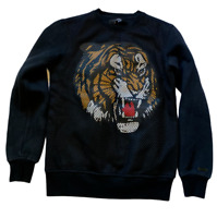 HUDSON OUTERWEAR SWEATSHIRT MESH TIGER FLEECE PULLOVER CREW BLACK SIZE S SMALL