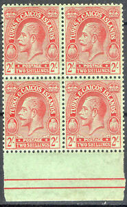Turks & Caicos 1922 KGV  2 shillings block of 4 mint stamps  MNH