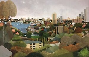 """Original Oil Painting by Ric Elliot (Aust 1933-95) """"Kate Cottee's Arrival"""""""