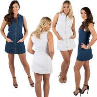New Women Denim Sleeveless Front Zip Pockets Shirt Collar Mini Short Dress 6-14