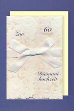 Diamanthochzeit Karte 60 Grußkarte Handmade Applikationen Schleife 17x11cm