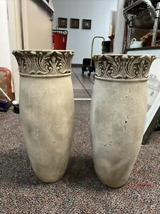 """2 Terra Cotta Clay Pottery:  Vases 18.75"""" By 9"""""""