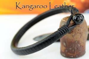 HANDMADE Gift Kangaroo Leather Black Onyx NEW Armband Wristband Bracelet1B-095