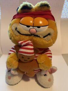 1981 Garfield Vintage Plush Toy with Pyjamas, Teddy, Nightcap & Slippers- VGC