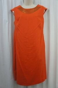 Evan Picone Dress Sz 10 Orange Linen  Bronze Chain Sleeveless Career Cocktail