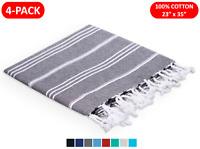 (4-PACK) 100% TURKISH COTTON HAND TOWELS 23x35 FACE HAIR BATH GUEST KITCHEN GYM