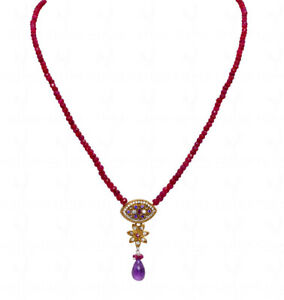 """22"""" Inches Ruby Faceted Bead Necklace With Amethyst Drop Pendant Np1427"""