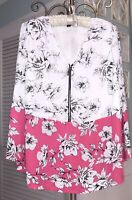 NEW Plus Size 1X Black White Pink Floral Blouse Zip Top Shirt