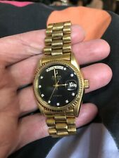 Vintage Bulova Super Seville Day&Date, Automatic, Black Dial With CZ(?) Running