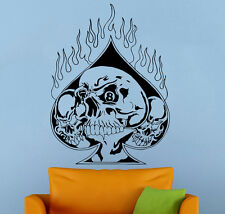 Card Suits Spades Wall Decal Skull Casino Vinyl Sticker Home Wall Art Decor 12nt