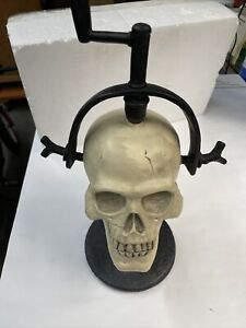 Rare Pottery Barn Skull In Vice Halloween Decoration In Box