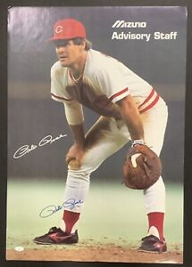Pete Rose Signed Poster 19x28 Reds Hit King Baseball Autograph Mizuno Rare JSA