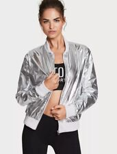 Victoria's Secret Bomber M Jacket Metallic Silver VS Sport 60% Off NWT $79.50