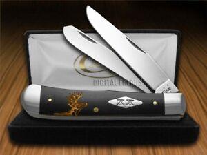 Case xx Trapper Knife Gold Deer Scene Black Delrin 1/500 Pocket