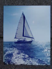 VINTAGE COLOUR PHOTOGRAPH PRINT OCEAN GOING SAILING YACHT BOAT ON CARD