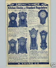 1907 PAPER AD Waterbury Office Hall Store Regulator Clock Wood Kitchen Clocks