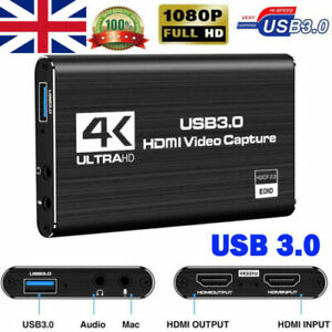 HDMI to USB 3.0 Video Capture Card 60fps 1080p 4K HD Recorder Game Live Stream
