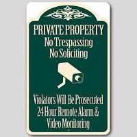 4 LOT Private Property No Trespassing  Soliciting Video Surveillance Sign 8x12