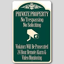 "Private Property No Trespassing No Soliciting Video Surveillance Sign 8""x12"" New"