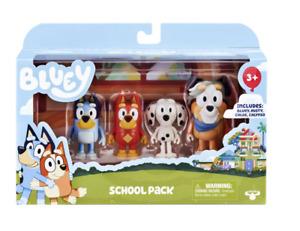 Bluey & Friends School Pack Includes 4 Figurine Bluey, Chloe, Rusty & Calypso