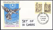 1974 10 First Day Covers - Memories Ideal Gift for a Special Year Cat. Value $54