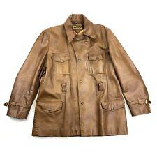 Vintage Kawasaki Leather Jacket Size 44 Z-1 Motorcycle Brown Long Moto ROK