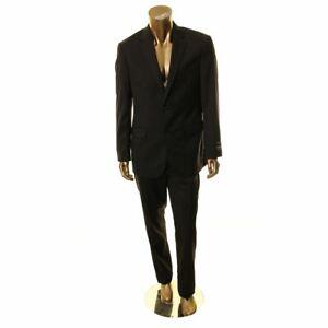JOS.A.BANK NEW Men's Black Traveler Tailored Fit Wool 2 Piece Suit 42L/36W TEDO
