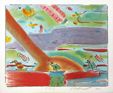 """PETER MAX """"SAILBOATS"""" 1980   EMBELLISHED STUDY EDITION   OTHERS AVAIL   GALLART"""