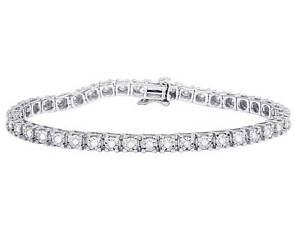 "White Gold Finish Genuine Diamond Fanook 3.5MM One Row Tennis Bracelet 1 CT 7"""