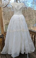 Vintage 1959 Cahill of Beverly Hills Swiss Organdy Guipure Lace Wedding Dress