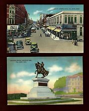 A40 Fall River, 2 Pcs. Monument, Auto's on Main St. Looking South, Linen Unused