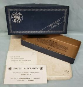 SMITH & WESSON Highway Patrolman Revolver No. 28 Blue BOX ONLY w/ Pamphlets