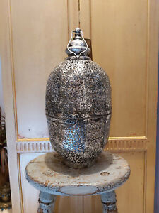 LARGE FLORAL CUTWORK BLACK & SILVER LANTERN HAND CRAFTED IN INDIA - FAIRTRADE