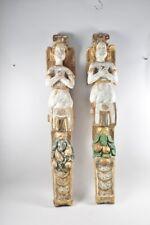 i94r03- Paar Barock Halbfiguren/ Engel 17./ 18. Jh., Holz geschnitzt & gefasst
