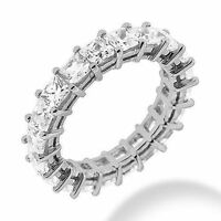 5.41 ct PRINCESS Cut DIAMOND Wedding Band ETERNITY 14k White Gold Ring G VS1/VS2