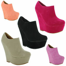 Wedge Ankle Boots Faux Suede Casual Shoes for Women