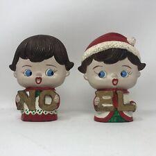 Vintage Big Head Christmas N O E L Figurines Retro Mid Century
