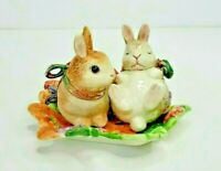 Fitz & Floyd Classics Woodland Spring Bunny Rabbit Salt & Pepper on Tray 73/176